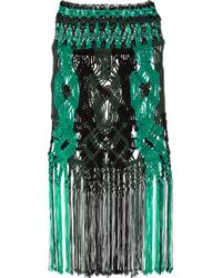 Proenza Schouler | Black Open-weave Cotton-blend Macramé Skirt | Lyst