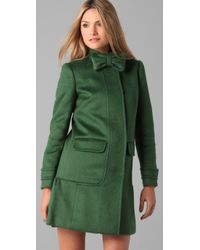RED Valentino   Green Mohair Coat with Bow Detail   Lyst