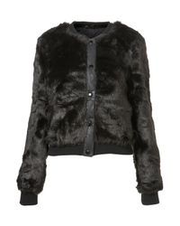 TOPSHOP | Black Glossy Faux Fur Bomber Jacket | Lyst