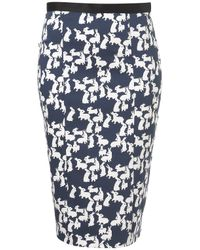 TOPSHOP | Blue Rabbit Print Pencil Skirt | Lyst