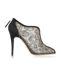 Valentino - Black Crystal-embellished Lace Peep-toe Sandals - Lyst