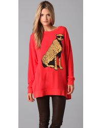 Wildfox - Red Road Trip Sweatshirt Dress with Jungle Cat Graphic - Lyst