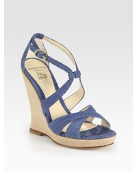 Alexandre Birman | Blue Strappy Denim Wedge Sandals | Lyst