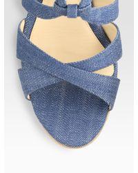 Alexandre Birman | Blue Strappy Denim Wedge Sandals | Lyst