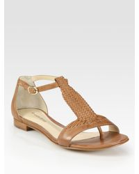 Alexandre Birman | Brown Woven Leather T-strap Sandals | Lyst