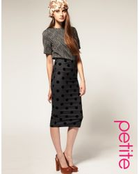 ASOS Collection - Gray Asos Curve Pencil Skirt in Flock Spot - Lyst