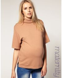 ASOS Collection | Brown Asos Maternity Roll Neck Tunic | Lyst