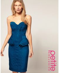ASOS Collection - Blue Asos Petite Exclusive Midi Bandeau Dress with Fold Detail - Lyst