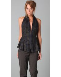 L.A.M.B. | Green Plaid Zip Front Halter Top | Lyst