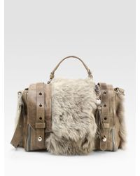 Olivia Harris | Brown Small Shearling Messenger Bag | Lyst