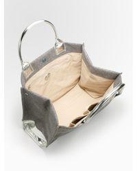 Tory Burch | Gray Ella Felt & Metallic Leather Tote Bag | Lyst