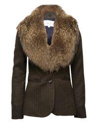 Veronica Beard | Brown Herringbone Jacket with Fur Collar | Lyst