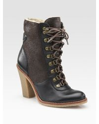 Sam Edelman | Brown Tara Two-tone Leather and Shearling Ankle Boots | Lyst