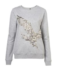 TOPSHOP | Gray Studded Eagle Sweatshirt | Lyst