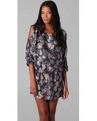 Beyond Vintage - Gray Cutout Shoulder Long Sleeve Dress - Lyst