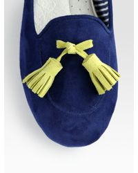 Charles Philip | Blue Sylvie Suede Tassel Loafers | Lyst