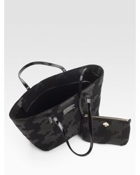 Kate Spade | Black Small Harmony Printed Felt Tote Bag | Lyst