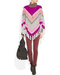 Rebecca Taylor | Multicolor Striped Cashmere-blend Tasseled Poncho | Lyst