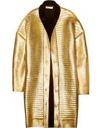 Stella McCartney | Black Metallic Foil-covered Wool Coat | Lyst