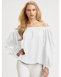 Saint Laurent | White Off-the-shoulder Cotton Blouse | Lyst