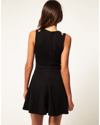 ASOS Collection | Black Asos Waisted Dress with Cut Out Shoulder Detail | Lyst