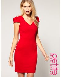 ASOS Collection - Red Asos Petite Exclusive Origami Pleated Dress - Lyst
