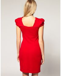 ASOS Collection | Red Asos Petite Exclusive Origami Pleated Dress | Lyst