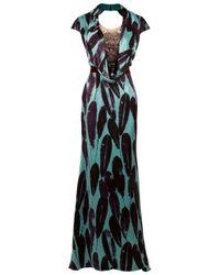 Carolina Herrera | Green Feather Print Gown | Lyst