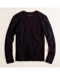 J.Crew | Black Spindletop Waffle Long-sleeve Tee for Men | Lyst