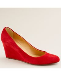 J.Crew | Red Martina Suede Wedges | Lyst