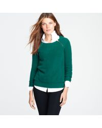 J.Crew | Green Waffled Cashmere Zip Sweater | Lyst