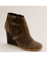 J.Crew | Green Greer Wedge Ankle Boots | Lyst