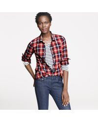 J.Crew | Red Perfect Shirt with Bronze Buttons in Russet Plaid | Lyst