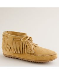 J.Crew | Natural Minnetonka® Pull-on Fringe Booties | Lyst