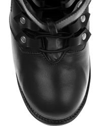 Alexander McQueen - Black Lace-up Leather Ankle Boots - Lyst