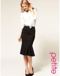 ASOS Collection | Black Asos Petite Ponte Fishtail Pencil Skirt | Lyst