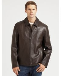 Cole Haan - Brown Leather Jacket for Men - Lyst