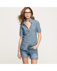 J.Crew | Blue Short-sleeve Selvedge Chambray Shirt | Lyst