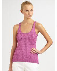 Ralph Lauren Black Label | Pink Silk Cable-knit Tank | Lyst