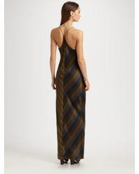 T By Alexander Wang | Green Striped Silk Charmeuse Racerback Slip Dress | Lyst