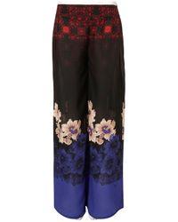 TOPSHOP - Black Border Print Wide Leg Trousers - Lyst