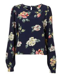 TOPSHOP - Blue Holly Rose Print Blouse - Lyst