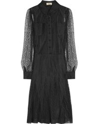 Saint Laurent | Black Lace Shirt Dress | Lyst