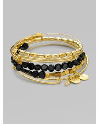 ALEX AND ANI | Black Expandable Wire Bracelet Set/onyx | Lyst