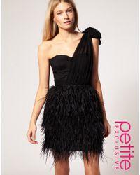 ASOS Collection - Black Asos Petite Exclusive Asymmetric Feather Bandeau Dress - Lyst