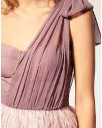 ASOS Collection - Purple Asos Petite Exclusive Asymmetric Feather Bandeau Dress - Lyst