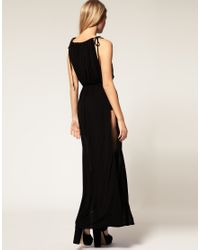 ASOS Collection - Black Asos Petite Exclusive Maxi Dress with Split Sides and Sequin Shorts - Lyst