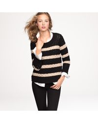 J.Crew | Black Chainlink Cable Sweater in Stripe | Lyst
