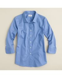 J.Crew | Blue Three-quarter Sleeve Stretch Perfect Shirt | Lyst