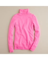 J.Crew | Pink Cashmere Turtleneck Sweater | Lyst